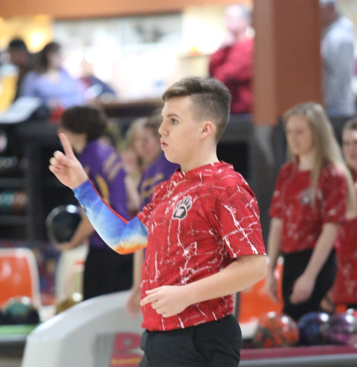 Chris Steele competes in bowling states
