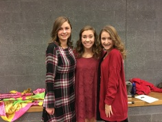 Macy Weinreich, Abby Winkler, and Sammie Beddow are all smiles before the NHS induction.