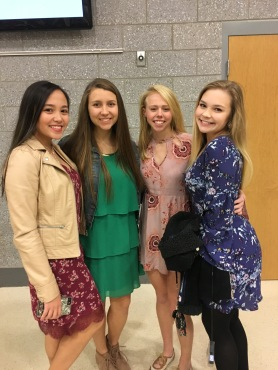 Marraya Youngblood, Leach McNutt, Lindsey Leatherman, and Hannah Saylor all pose for a cute picture before the ceremony.