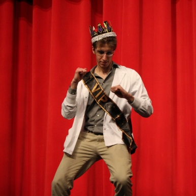 Conner Beheydt does his victory dance after being crowed winner of Mr. WHS.Photo by Emily Thompson